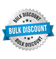 bulk discount 3d silver badge with blue ribbon vector image