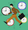 businessman running late time is money concept vector image vector image