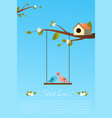 card of birds in love vector image vector image