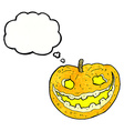 cartoon spooky pumpkin with thought bubble vector image vector image
