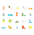 cartoon trash and garbage color icons set vector image vector image