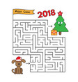 christmas cartoon dog maze game vector image