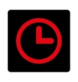 Clock flat intensive red and black colors rounded vector image