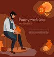 craft master potter makes a clay vase vector image vector image