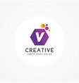 creative hexagonal letter v logo vector image vector image