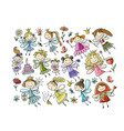 cute little fairies collection sketch for your vector image vector image