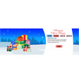 decorated colorful gift boxes happy new year merry vector image vector image