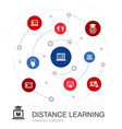 distance learning colored circle concept vector image vector image