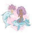 dolphin mermaid cartoon travel tropical vector image vector image