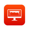 drawing monitor icon digital red vector image vector image
