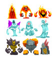 fire stone and water monsters set fantasy mystic vector image vector image