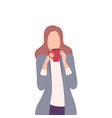 girl drinking coffee or tea businesswoman vector image vector image