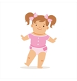 Girl With Ponytails Making First Steps Adorable vector image vector image
