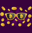 gold glasses with symbol bitcoin and vector image