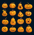 halloween holiday party cartoon pumpkins vector image