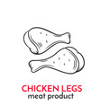 hand drawn chicken legs icon vector image