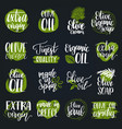 hand lettering olive production signs vector image vector image