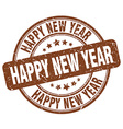 happy new year brown grunge round vintage rubber vector image