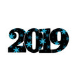 happy new year card black number 2019 blue vector image vector image