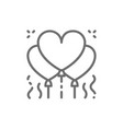 heart shaped balloons confetti line icon vector image