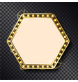 hexagonal frame with shining borders retro style vector image