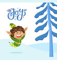 holiday joy caption elf playing outdoor in forest vector image vector image