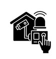 home alarm system black glyph icon