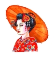 Japanese woman portrait watercolor vector image vector image