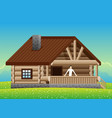 man in a wooden country house vector image