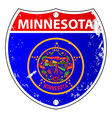 minnesota flag icons as interstate sign vector image vector image