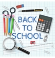 pen calculator and other school supplies vector image