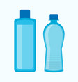 plastic water bottles collection in blue color vector image vector image