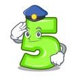 police character number five at wooden door vector image vector image