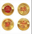 quality and guaranteed golden emblem collection vector image vector image