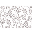 seamless texture with delicate doodle plants vector image