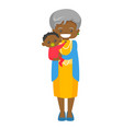 senior african grandmother holding grandson vector image