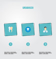 set of tooth icons flat style symbols with dentist vector image