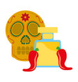 skull chili pepper tequila drink mexican vector image vector image