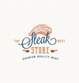 steak store vintage typography label emblem or vector image