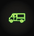 step van truck neon icon in line style vector image