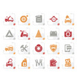 stylized roadside assistance and tow icons vector image vector image