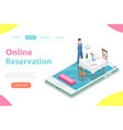 table online reservation flat isometric vector image