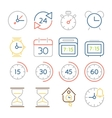 Time and clock icons flat design colorful thin vector image