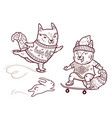 two cute baby fox skating in outline fun vector image