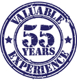 Valuable 55 years of experience rubber stamp vect vector image