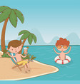 young boys on beach scene vector image