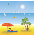 Young girl lying on the beach under an umbrella vector image