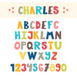 funny colorful hand drawn english alphabet cute vector image