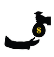 dollar in bag in hand color vector image