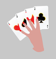 poker with four aces in hand vector image